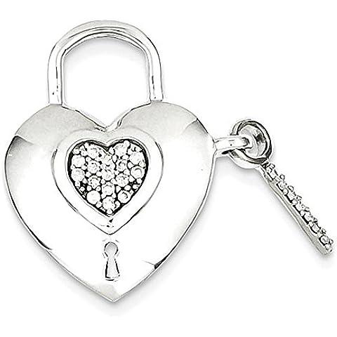 Sterling Silver Diamond Heart Lock & Key Pendant