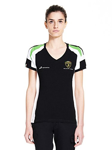 lc281904Lamborghini Squadra Corse Damen Team 2017T-Shirt (schwarz) Meine Damen Mädchen, schwarz - Lamborghini-shirt
