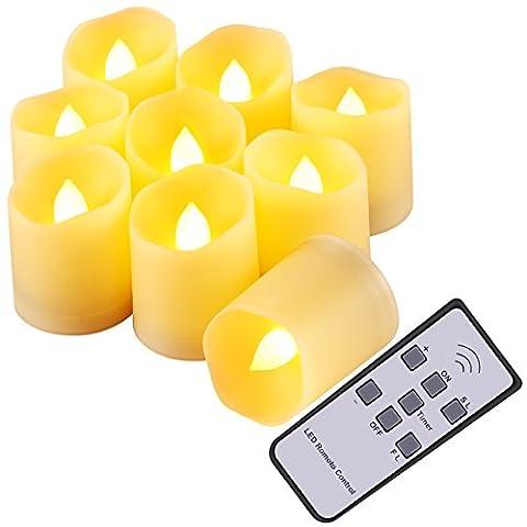 Amir Flammenlose Kerzen 9LED-Leuchten 3Modi Kerze mit Timer, Fernbedienung und batteriesfor Weihnachtsbaum, Weihnachten Dekoration, Hochzeit, Geburtstag