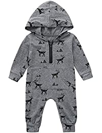 IMJONO Printemps Ensembles Vêtement Bébé Garçon Naissance 0-18 Mois Pyjama  Hiver Combinaison Bébé Garçon Manche Longue Body… e35921547a2