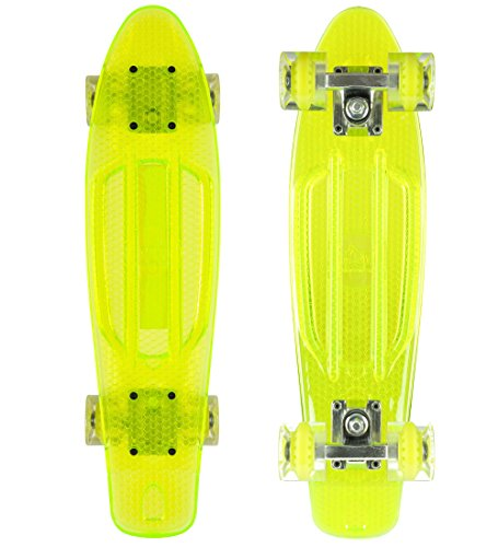 STAR-SKATEBOARDS® Vintage Cruiser Board ★ 22er Trendy Transparent Edition ★ Gecko Grün