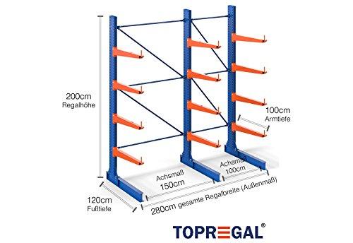 2,8m Kragarmregal, 200cm hoch, 100cm tief, 4 Kragarmebenen - Langgutregal Schwerlastregal