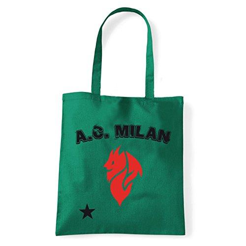 Art T-shirt, Borsa Shoulder Milan Evil, Shopper, Mare Verde