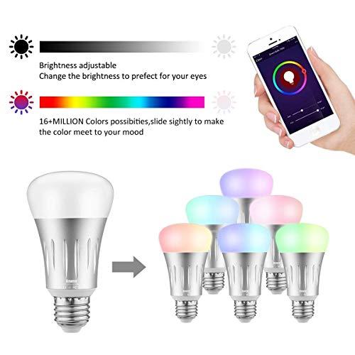 Smart LED WiFi Lampen, 7W Dimmbar RGBW Birne E27 Mehrfarbig Glühbirnen mit 16 Millionen Farben Licht Steuerbar via App,Kompatibel mit Smartphone, Tablet, Amazon Alexa, Google Home