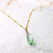 Edelstein-Kette grün-gold mit Amethyst-Tropfen hell-grün, vergoldete Satelliten-Kette, facettierter Prasiolith