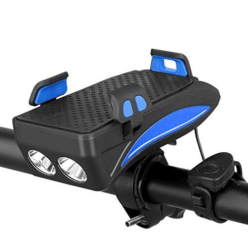 DUBAOBAO Fahrrad licht, multifunktions elektrische/Motorrad handyhalter, Anti-Vibrations Auto Lade Schatz Navigation Halterung, Lautsprecher + USB Lade + doppel led Beleuchtung,Blue,4000MAH