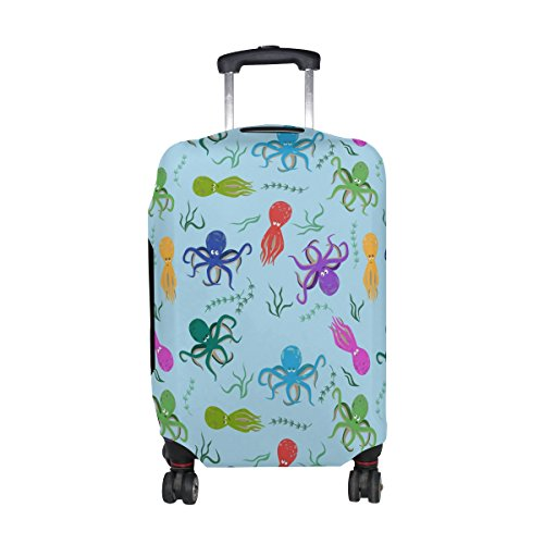 COOSUN Octopus-Muster-Druck-Reise-Gepäck Schutzabdeckungen Waschbar Spandex Gepäck Koffer Cover - Passend für 18-32 Zoll L 26-28 in Mehrfarben - Koffer Octopus