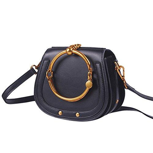 WTUS Damen Ringförmige Metallring Handhandschultertasche Leder Satteltaschen Messenger Bags Beuteltote Ledertasche Handgelenktasche Schwarz