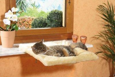 CLEVERCAT Kuschelmulde beige, flauschig weicher Fensteraussichtsplatz für Ihren Stubentiger Made in Germany