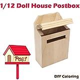 Gaddrt 4.6x2.6x6.9cm Außerhalb des hölzernen Briefkasten-Briefkasten-Briefkasten-Briefkasten-DIY Farbe für 1/12 Puppenhaus Miniatur Spielzeuge