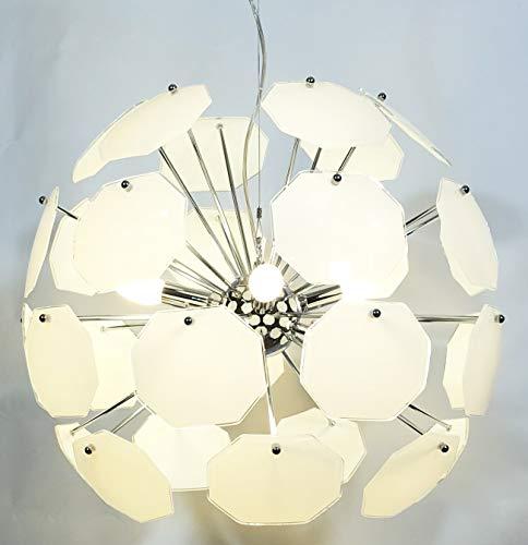 E-lED lampe suspension ø 55 cm à LED Intensité variable/E14 6luci en métal et verre blanc lait, approprié pour milieux modernes Bianco Dimmerabile Luce Naturale