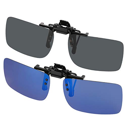 Hifot Clip auf Sonnenbrille 2 Pack, polarisierte Linse passen über Korrekturbrillen, Flip-up randlose Myopie kurzsichtig Sonnenbrille