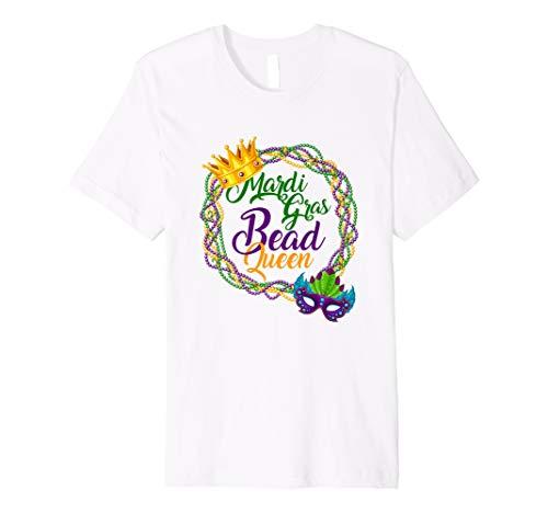 Mardi Gras Bead Queen T-Shirt Crown Mask