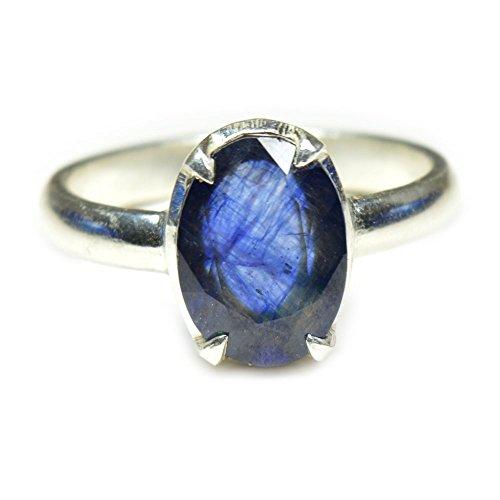 55Carat Unisex NA plata ley talla ovalada azul zafiro