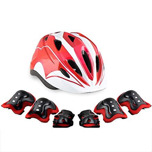 JHERT Balance Wheel Slip Sports protecteurs pour Enfants Ensemble Sports de Plein air Vélo Skateboard Skates Casque de Genou incassable (Color : White Red)