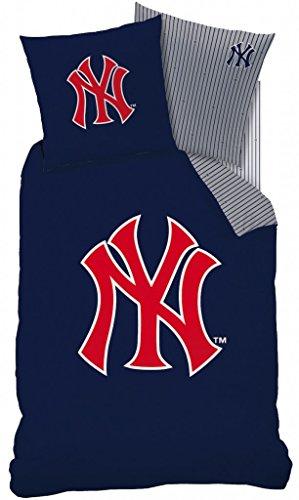 NY Yankees (New York Yankees) Bettwäsche, (Wendebettwäsche) 1 x Kissenbezug 80 x 80 cm und 1 x Bettbezug 135 x 200 cm, 100 % Baumwolle mit Reißverschluss