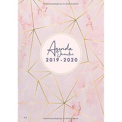 Agenda Journalier 2019 2020 A5: Juillet 2019  à Décembre 2020, Semainier simple & graphique, série Marbre, motif marbre rose, petit format A5