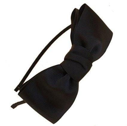 Miya hochwerige süß Mädchen Haareif Haarband mit schöner großer Schleife aus Satin in schwarz, Haarschmuck Stirnband - Teezers Kostüm