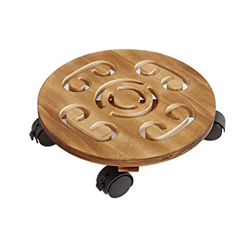 WYJW Kreisförmige bewegliche verdicken Massivholz Blume Pflanze Topf Mover Universal Rad Blume-Form mit Bremse Bonsai Display Stand (karbonisierte Farbe) (Größe: 32cm) -