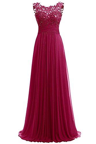 Carnivalprom Damen Chiffon Abendkleider Lange Elegant HochzeitsKleid Spitze Cocktailkleider(Weinrot,42) (Handgefertigtes Kleid Cinderella)