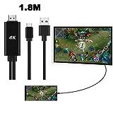 HKFV für Samsung Note 9 USB C Typ-C zu HDMI 4K Kabel HDTV TV Digital AV Adapter 1,8 m HDMI gleicher Bildschirmadapter (Schwarz)