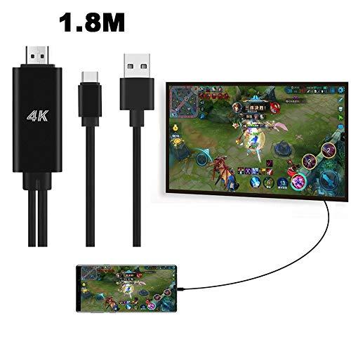 Gaddrt tipo C a HDMI HDTV AV cavo adattatore 4K, adattatore AV digitale per Samsung Galaxy Note 9, Nero