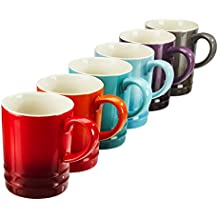 Set of 6 Stoneware Rainbow Tea Mugs, Collection of Assorted Colourful Espresso/Coffee Cups, 300ml by Cooks Professional