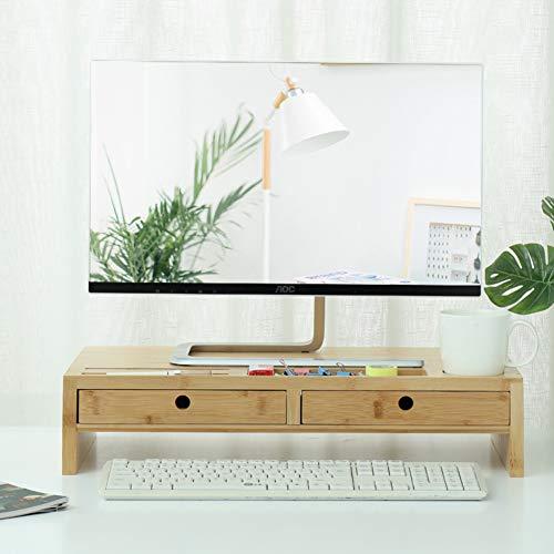 Computer-multimedia-schublade (GX&XD Bambusholz Bildschirmständer,Multi-Media Notebookständer Kostenlose Installation Desktop Schreibtisch Organizer Computer Monitorständer Mit schublade Platz sparen-C)
