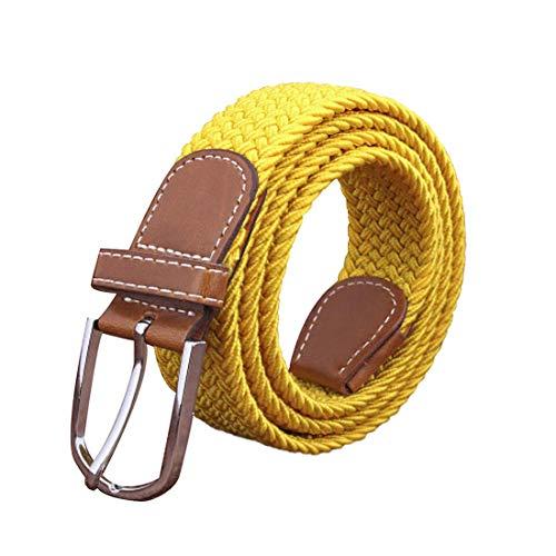 Irypulse Cintura intrecciata in tela treccia elastica di Uomo Donna Tessuto Cinghia di lega di cuoio PU elasticizzata per Cinture di tessitura in lega fibbia in pelle Unisex Tinta unita