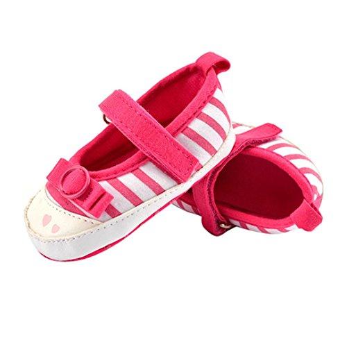 Saingace Bébé Enfants Stripe Chaussures Bowknot Chaussures Toddler Semelle Souple (12(12.5cm/6-12mois), Rose vif) Rose vif