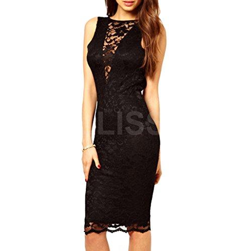ABILIO - vestitino pizzo party vestito corto scollato festa vestitino donna elegante dress short Nero