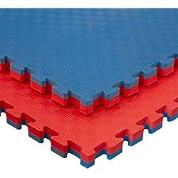 JOWY Esterilla Goma Espuma Estructura Tatami Puzzle 2 cm | Suelo para Gimnasio Ideal Artes Marciales 1 m x 1 m x 2 cm Rojo/Azul