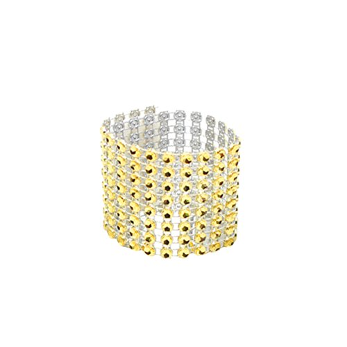 BESTOYARD Strass Serviette Ringe Diamant Dekoration für Hochzeit Geburtstag Party Bankett Empfang (Gold)