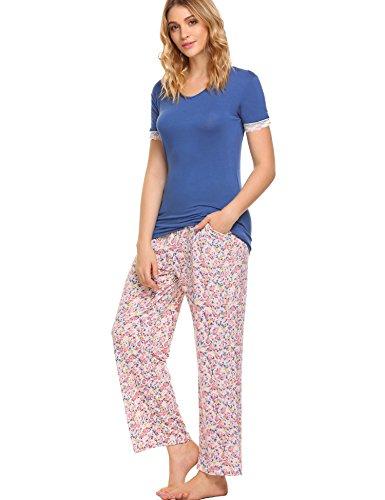Damen schlafanzug kurzarm 2tlg baumwolle lang hosen Blau XXL (Schlafanzug Kurzarm)