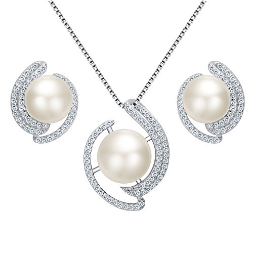 EVER FAITH® 925 Sterling Silber CZ AAA Süßwasser Zuchtperle Blume Halskette Stud Ohrringe Set klar (Halskette Süßwasser-zuchtperlen Triple)