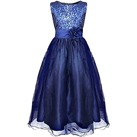 Wolfteeth Flower Girls Sequins Dress Sleeveless Princess Birthday Party Wedding Bridesmaid Evening Dresses(Blue,2-3 years)