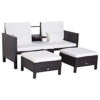 Questo set 3 pezzi di mobili da giardino Outsunny è perfetto per giardino e balcone. La parte centrale dello schienale può essere abbassata come un bracciolo. Cuscini e coperture imbottite per il massimo comfort. Realizzato in rattan PE con struttura...
