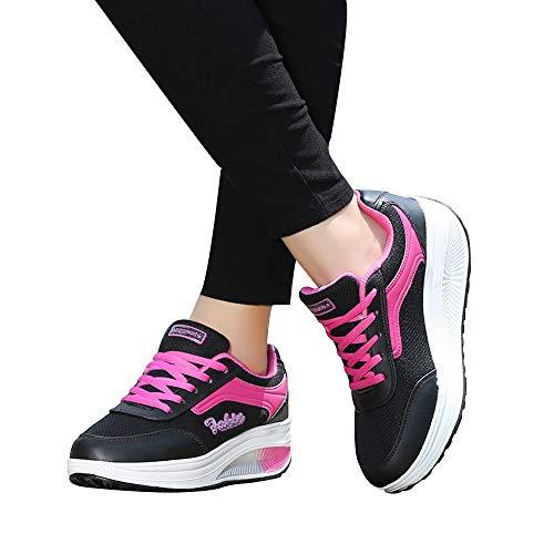 OSYARD Damen Sneaker Schwarz Laufschuhe Sportschuhe,Anti-Slip Atmungsaktiv Schnürer Fitnessschuhe,...