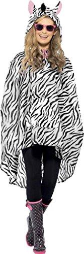 Kostüm Erwachsene Zebramuster Party Poncho Tiere & Natur Club Fest (Zebra Kostüm Haar)