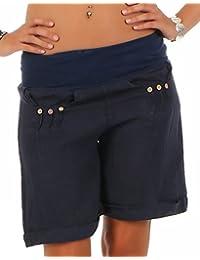 da48a6e0fb7b7c Malito Pantaloncini da Tessuto di Lino con Elastic Cintura dei Pantaloni  6822 Donna