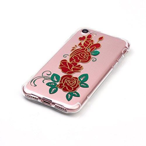 AllDo iPhone 7 Hülle Transparente Hülle TPU Silikon Gummi Gel Schutzhülle Soft Slim Clear Case Cover Schlanke Weiche Etui Glatte Flexible Schale Ultra Dünne Leichte Tasche Anti-stoß Anti-Kratz Anti-Ru Rote Rose