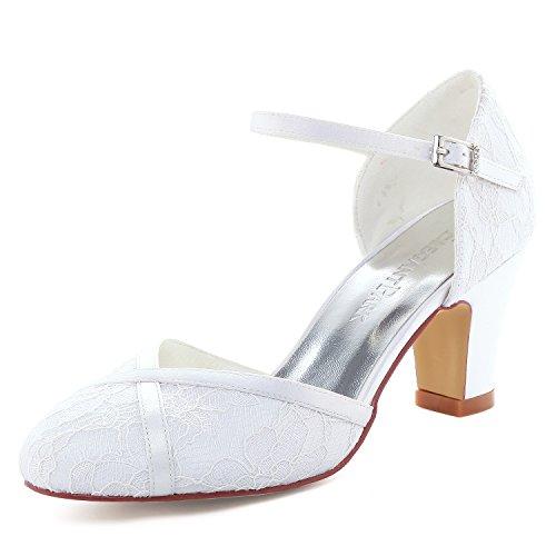 Elegantpark hc1802 donna punta chiusa tacco a blocco tacchi straps fibbia pizzo scarpe da sposa bianco eu 38