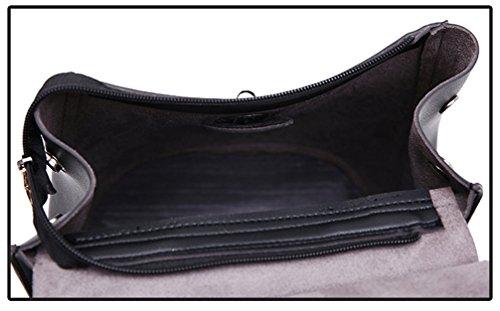 Yan Show Damen PU Schultertaschen Neu Rucksack Handtasche Multifunktions Tasche(Schwarz) Schwarz