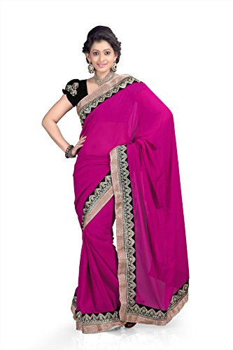 Chirag Sarees Synthetic Saree (298-H_Rani)