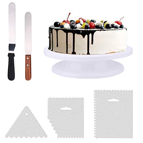 El paquete incluye: 1 mesa giratoria para decoración de tartas, 1 espátula recta de glaseado de 30,5 cm, 1 espátula de glaseado en ángulo de 26,5 cm, 3 espátulas para glaseado más suave.