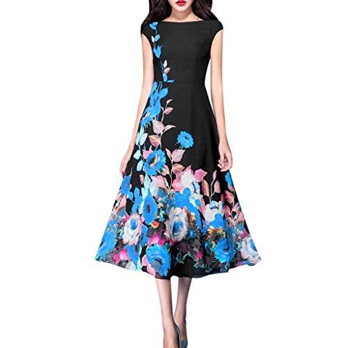 Go First Damen Casual Daily A-Line Vintage Kleid Eleganter Slash Neck Print Sashes Knielanges Midikleid (Color : Schwarz, Size : S) (Tier-print-kleider Junioren Für)