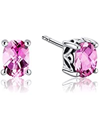 Revoni Basket Style 2.00 Carats Pink Sapphire Oval Cut Stud Earrings in Sterling Silver