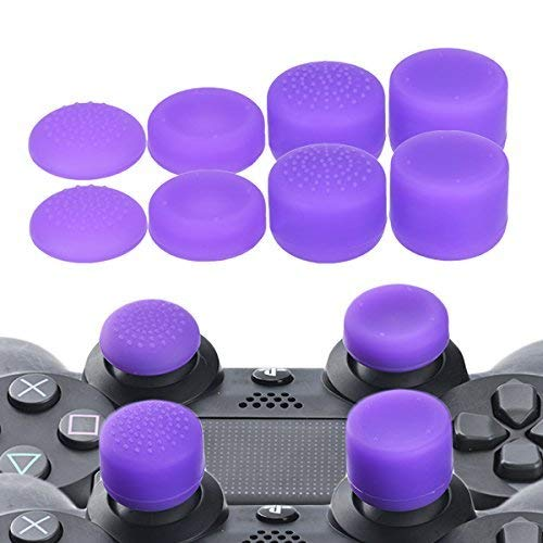 YoRHa Professionelle Aufsätze Daumengriffe Thumb Grips Thumbstick Joystick Cap Cover (lila) Extra Hoch 8 Stück Pack für PS4, Switch PRO, PS3, Xbox 360, Wii U Tablet, PS2 Controller (Ps3 Controller Lila Haut)