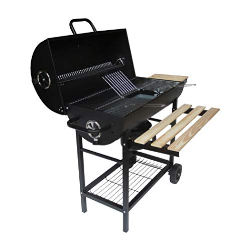BillyOh Houston Smoker BBQ Charcoal Grill Barrel Outdoor Barbecue Black 104x94x63