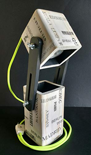 Lámpara extensible led para escritorio de madera reciclada de palet hecho a mano